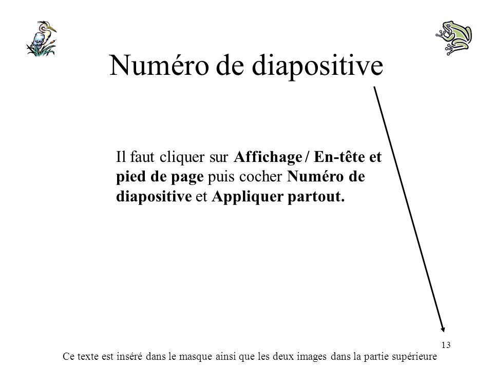 Numéro de diapositive Il faut cliquer sur Affichage / En-tête et pied de page puis cocher Numéro de diapositive et Appliquer partout.