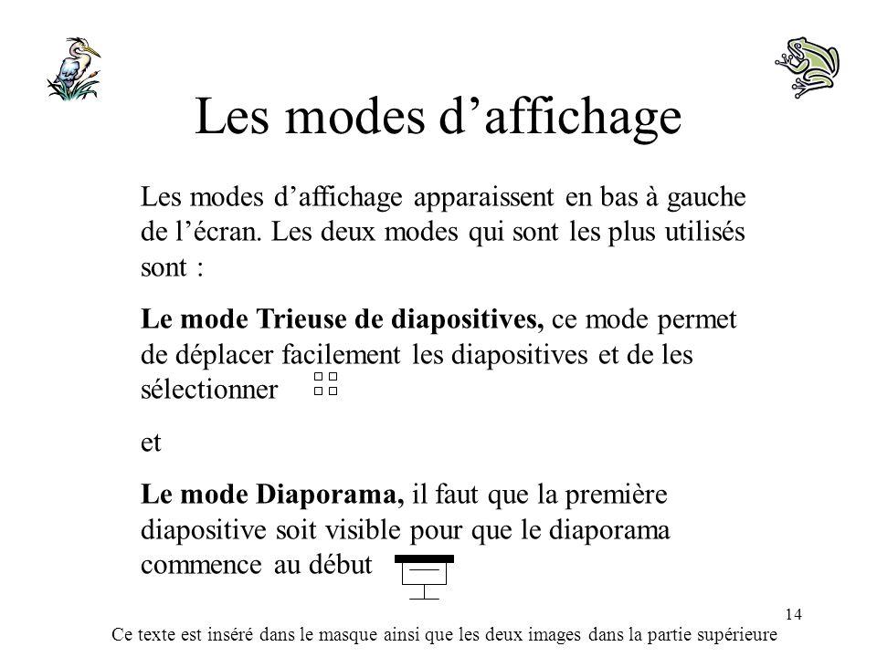 Les modes d'affichage Les modes d'affichage apparaissent en bas à gauche de l'écran. Les deux modes qui sont les plus utilisés sont :