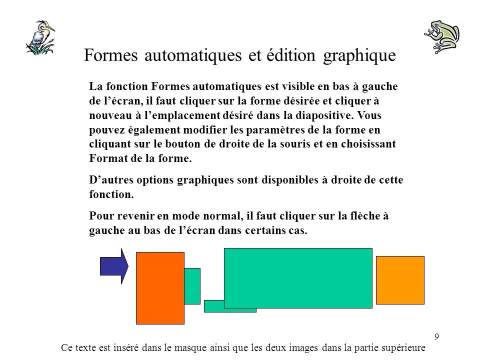 Formes automatiques et édition graphique