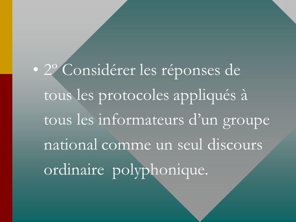 2º Considérer les réponses de tous les protocoles appliqués à tous les informateurs d'un groupe national comme un seul discours ordinaire polyphonique.