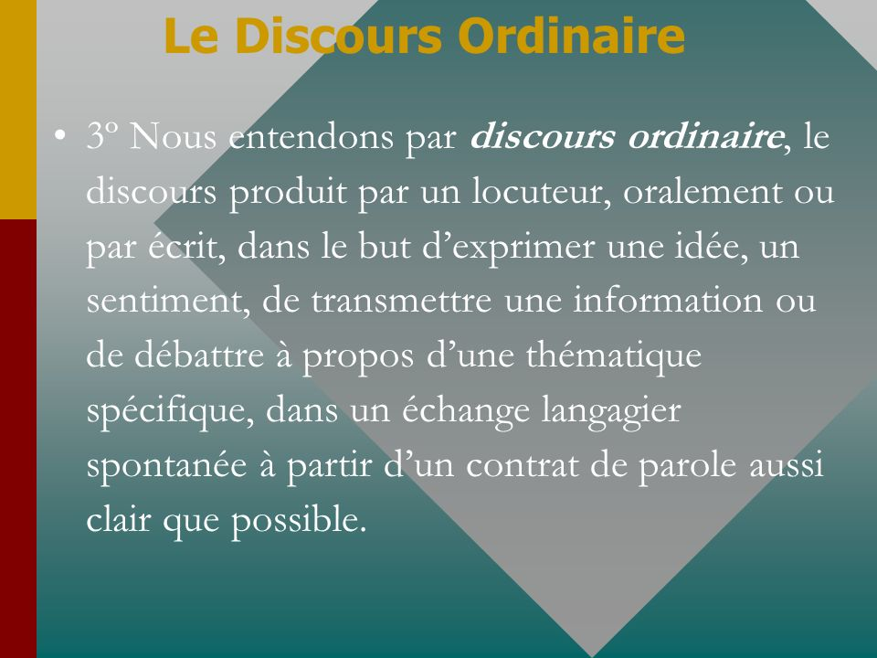 Le Discours Ordinaire