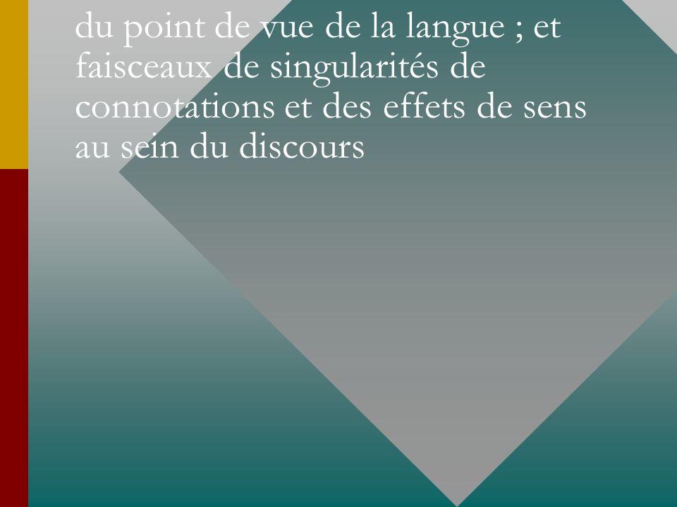 faisceaux notionnels et dénotatifs du point de vue de la langue ; et faisceaux de singularités de connotations et des effets de sens au sein du discours