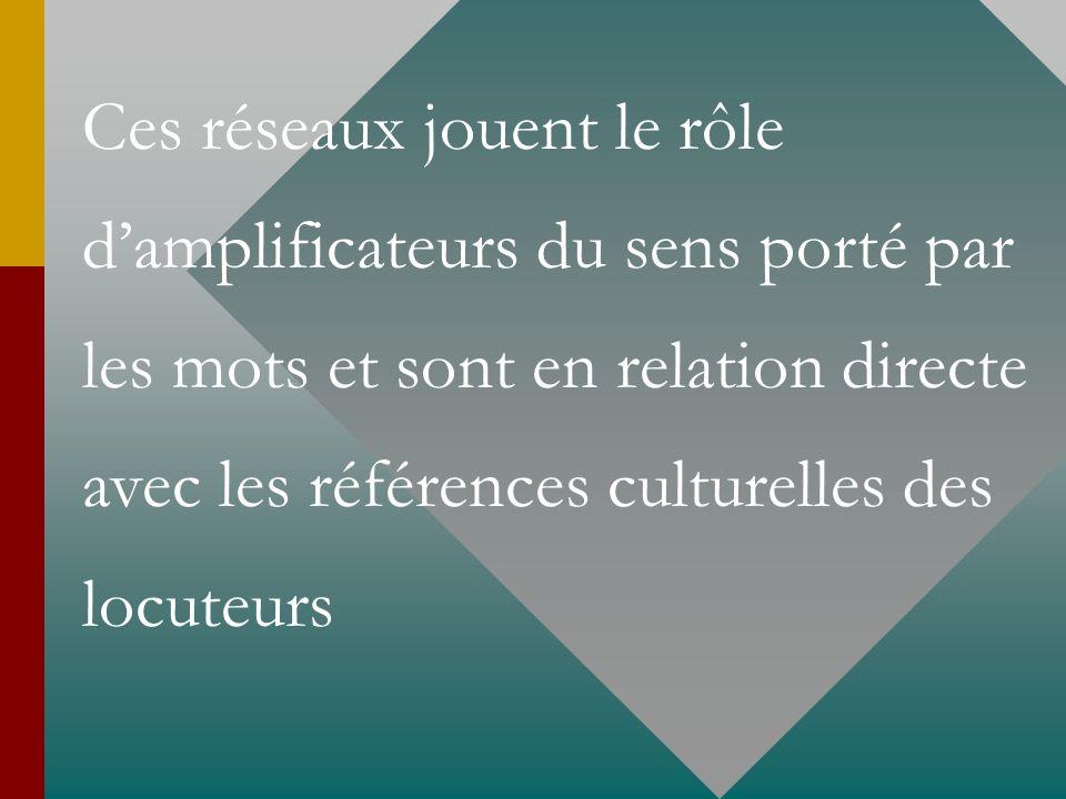 Ces réseaux jouent le rôle d'amplificateurs du sens porté par les mots et sont en relation directe avec les références culturelles des locuteurs