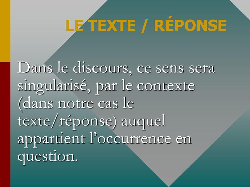 LE TEXTE / RÉPONSE