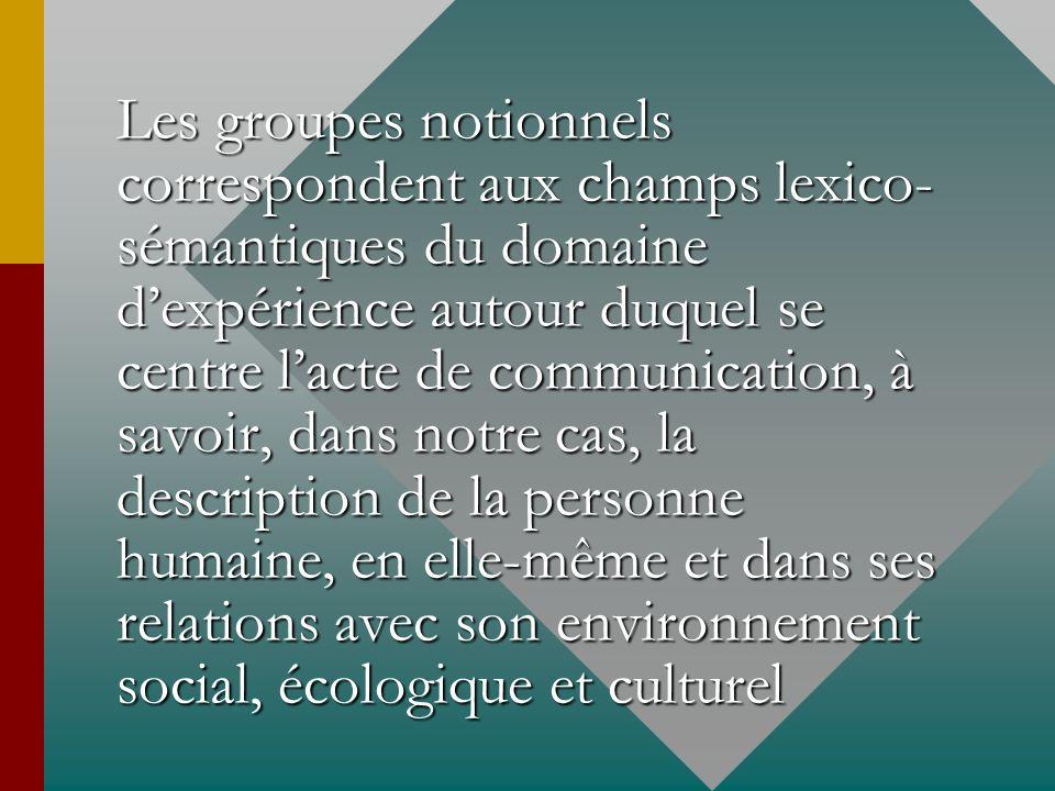 Les groupes notionnels correspondent aux champs lexico-sémantiques du domaine d'expérience autour duquel se centre l'acte de communication, à savoir, dans notre cas, la description de la personne humaine, en elle-même et dans ses relations avec son environnement social, écologique et culturel
