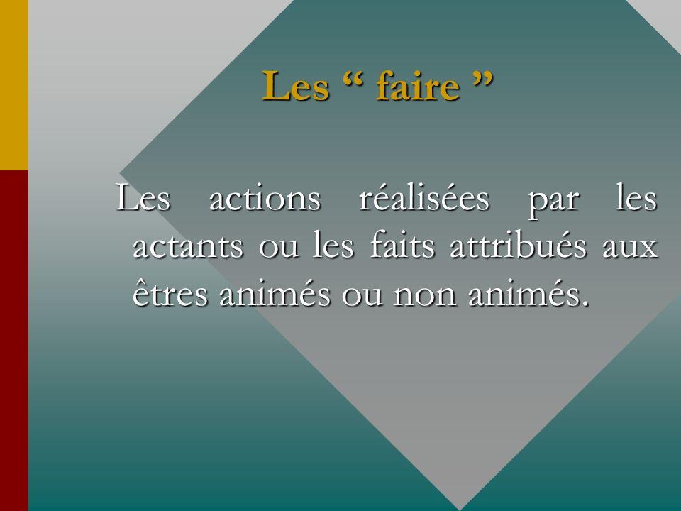Les faire Les actions réalisées par les actants ou les faits attribués aux êtres animés ou non animés.