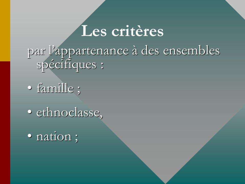 Les critères par l'appartenance à des ensembles spécifiques :