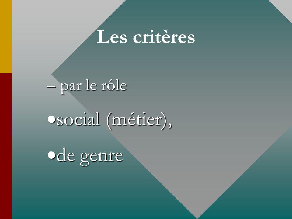Les critères par le rôle social (métier), de genre