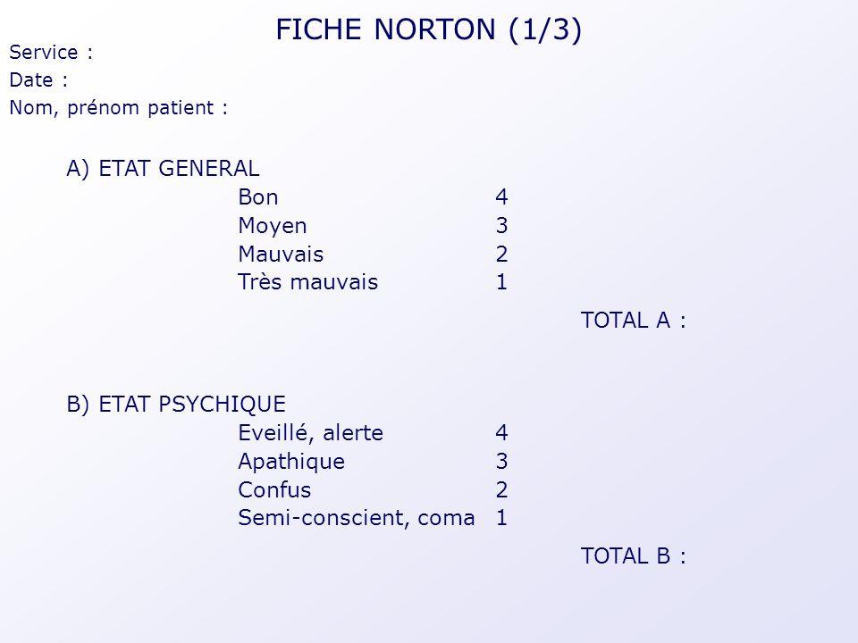FICHE NORTON (1/3) A) ETAT GENERAL Bon 4 Moyen 3 Mauvais 2