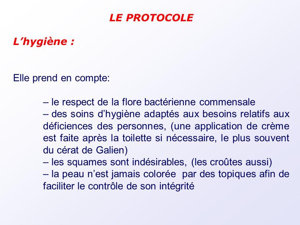 LE PROTOCOLE L'hygiène : Elle prend en compte: le respect de la flore bactérienne commensale.
