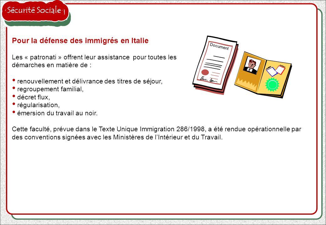 Sécurité Sociale Pour la défense des immigrés en Italie