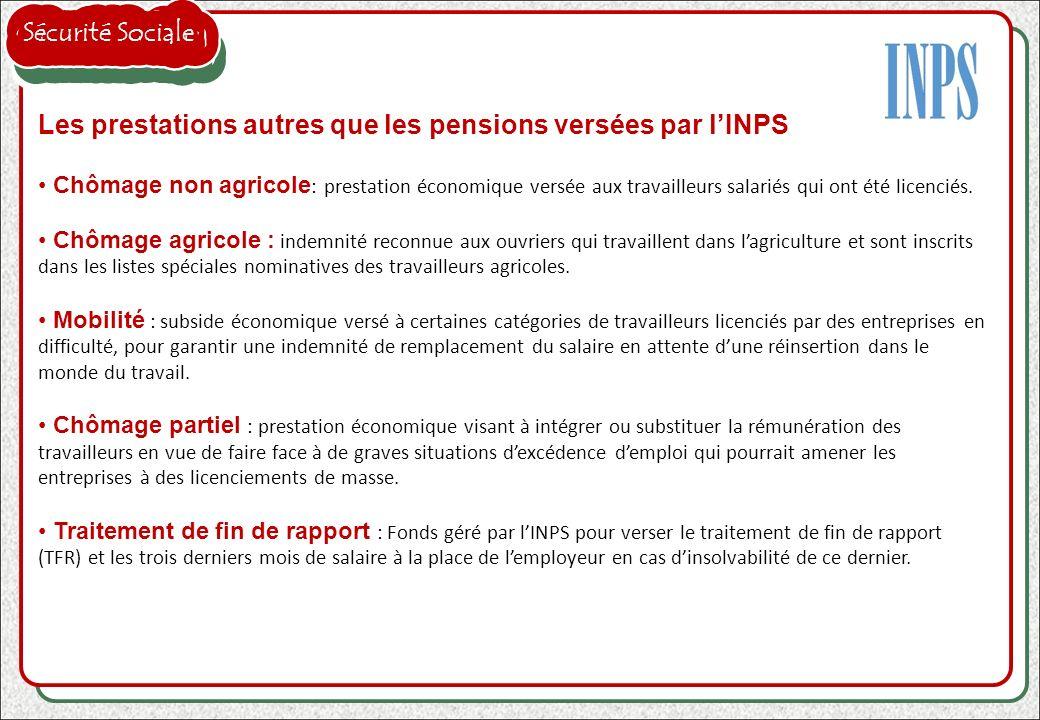 Les prestations autres que les pensions versées par l'INPS