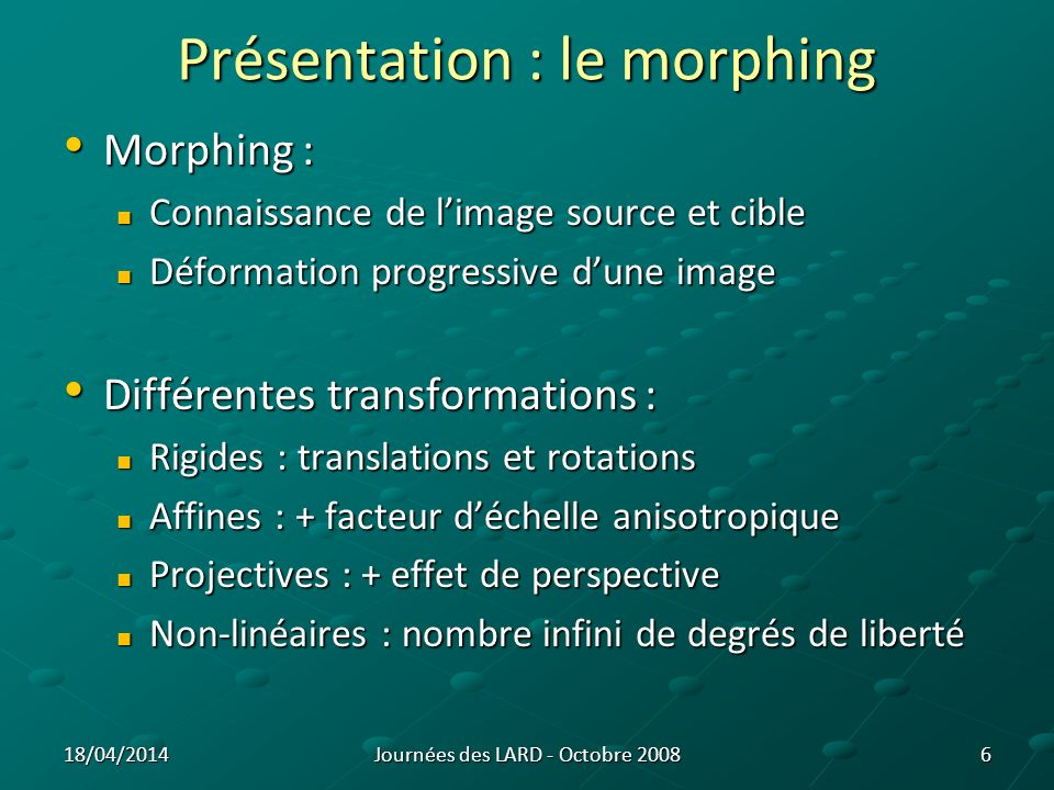 Présentation : le morphing