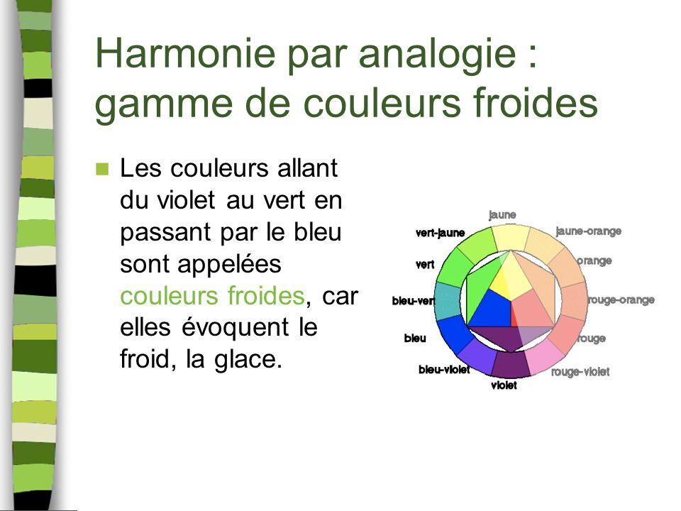 Harmonie par analogie : gamme de couleurs froides