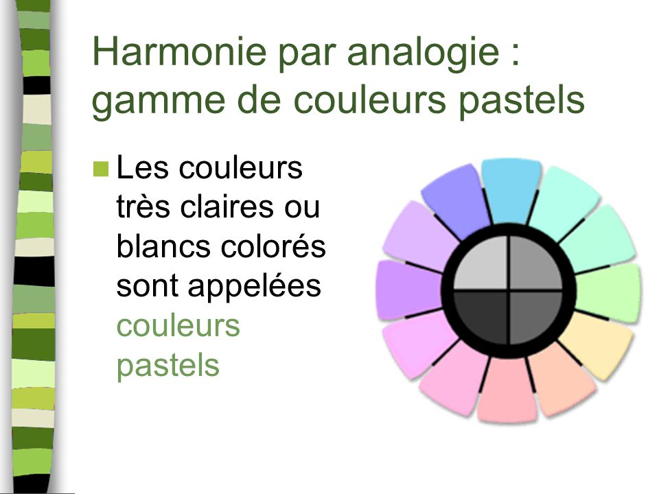 Harmonie par analogie : gamme de couleurs pastels