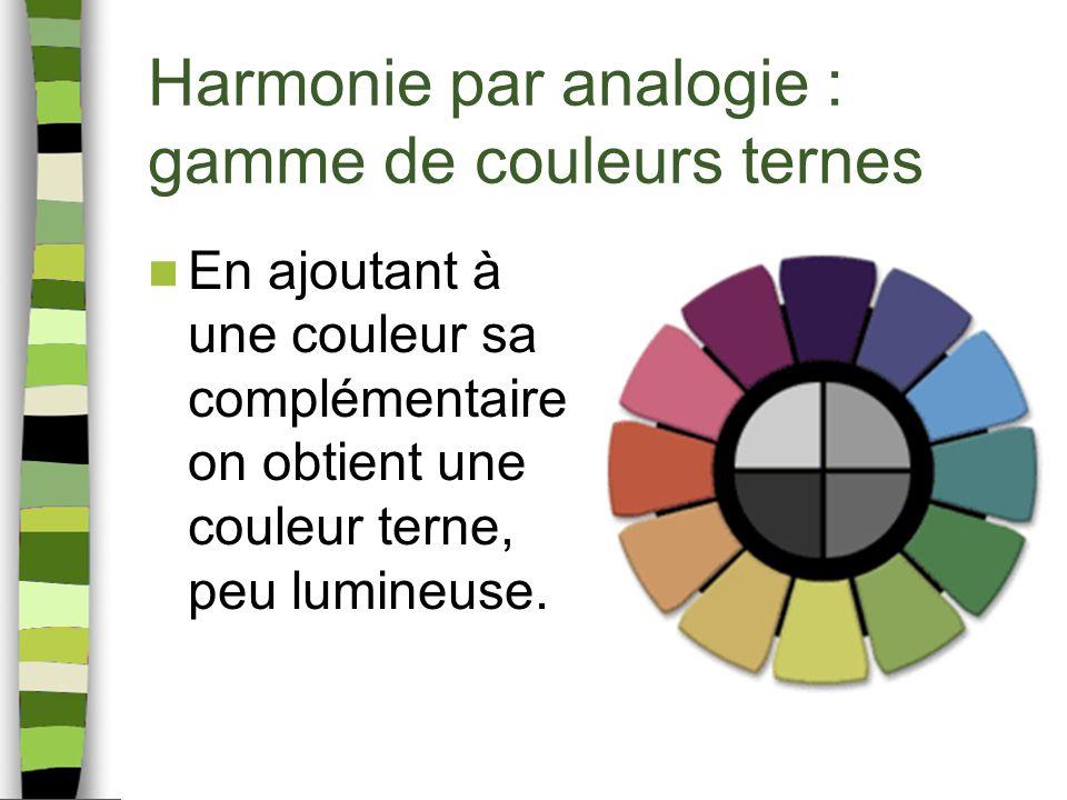 Harmonie par analogie : gamme de couleurs ternes