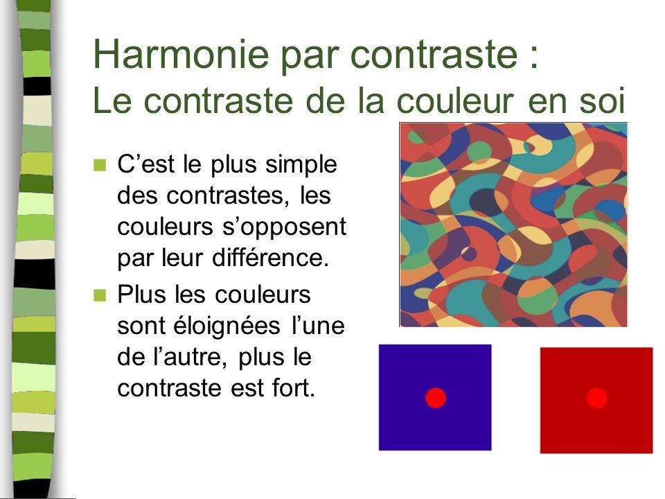 Harmonie par contraste : Le contraste de la couleur en soi