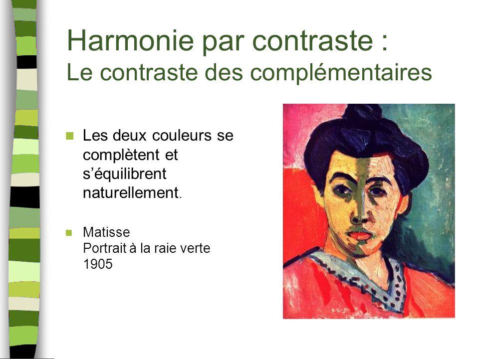 Harmonie par contraste : Le contraste des complémentaires