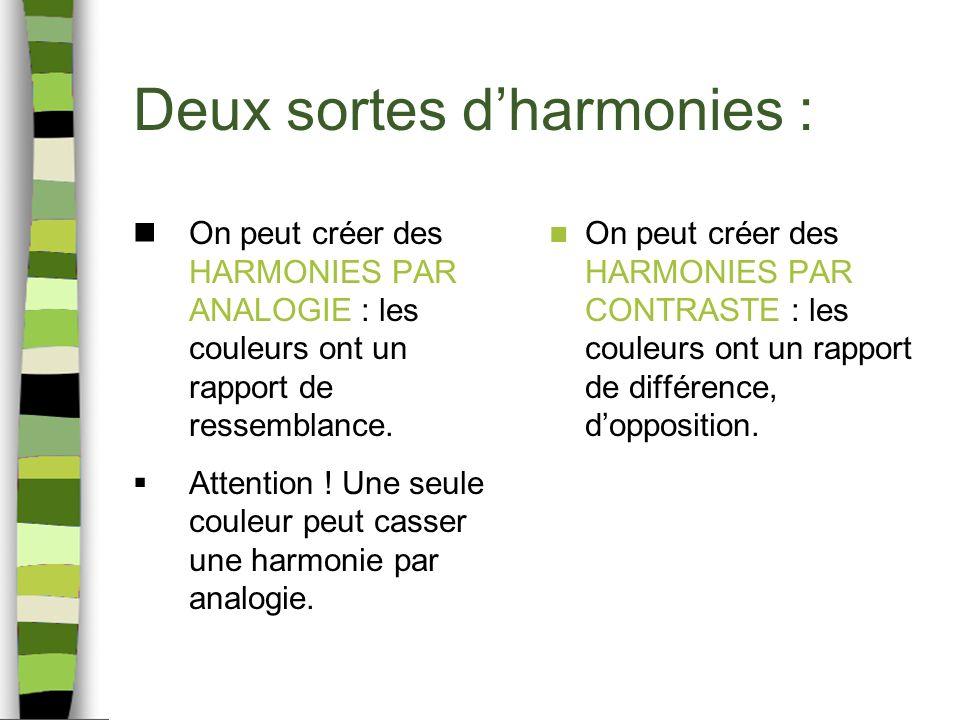 Deux sortes d'harmonies :