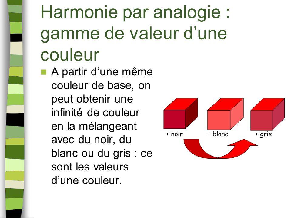 Harmonie par analogie : gamme de valeur d'une couleur