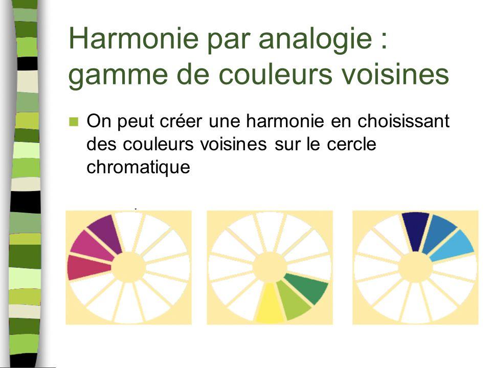 Harmonie par analogie : gamme de couleurs voisines