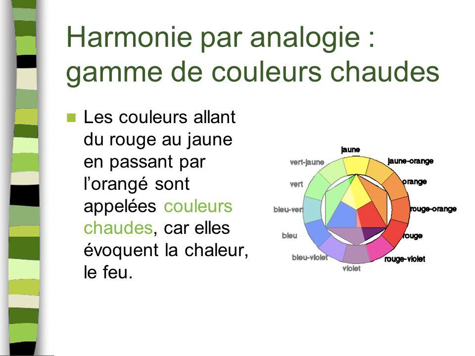 Harmonie par analogie : gamme de couleurs chaudes