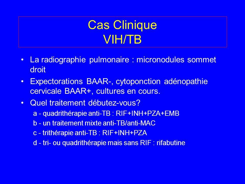 Cas Clinique VIH/TB La radiographie pulmonaire : micronodules sommet droit.