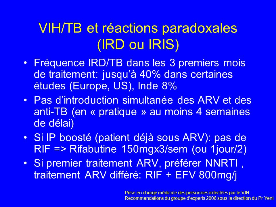 VIH/TB et réactions paradoxales (IRD ou IRIS)