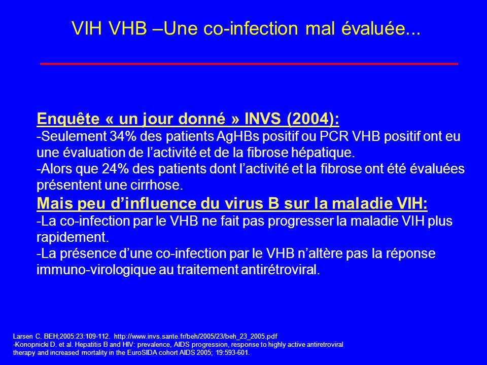 VIH VHB –Une co-infection mal évaluée...