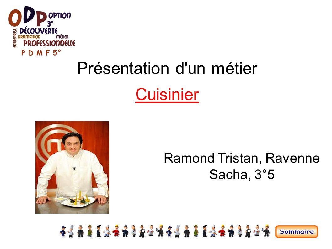 Pr sentation d 39 un m tier ppt video online t l charger for Cuisinier etude