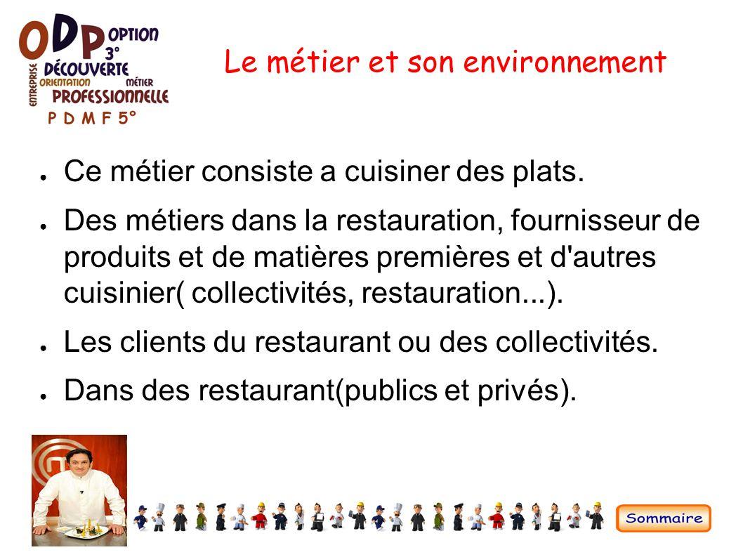 Pr sentation d 39 un m tier ppt video online t l charger for Cuisinier collectivite 86
