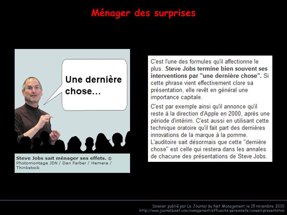 Ménager des surprises Dossier publié par Le Journal du Net Management le 15 novembre 2010.