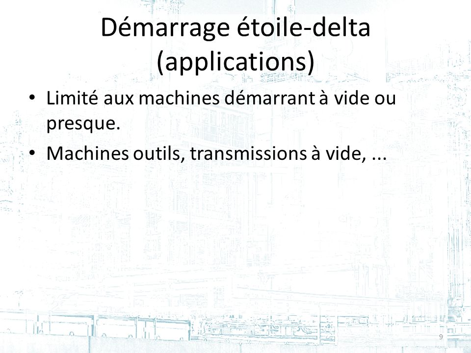 Démarrage étoile-delta (applications)