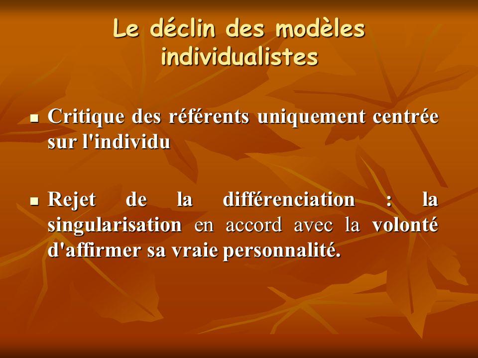 Le déclin des modèles individualistes