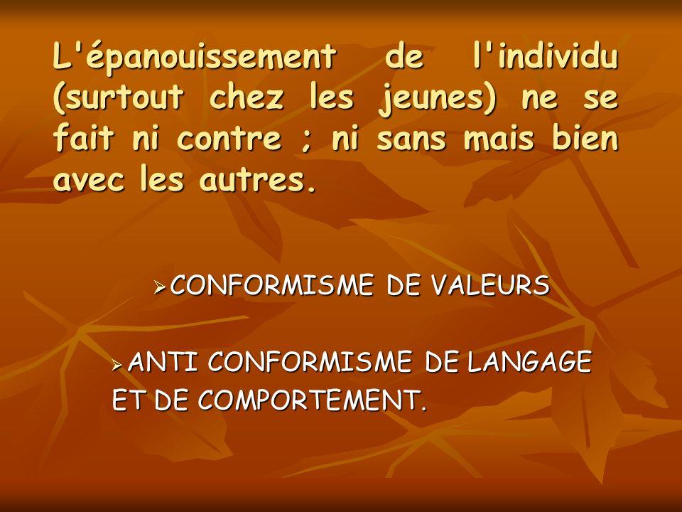 CONFORMISME DE VALEURS ANTI CONFORMISME DE LANGAGE ET DE COMPORTEMENT.