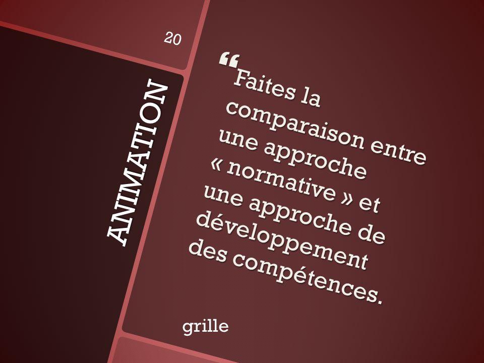 Faites la comparaison entre une approche « normative » et une approche de développement des compétences.