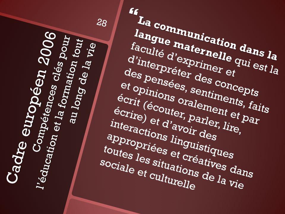 La communication dans la langue maternelle qui est la faculté d'exprimer et d'interpréter des concepts des pensées, sentiments, faits et opinions oralement et par écrit (écouter, parler, lire, écrire) et d'avoir des interactions linguistiques appropriées et créatives dans toutes les situations de la vie sociale et culturelle
