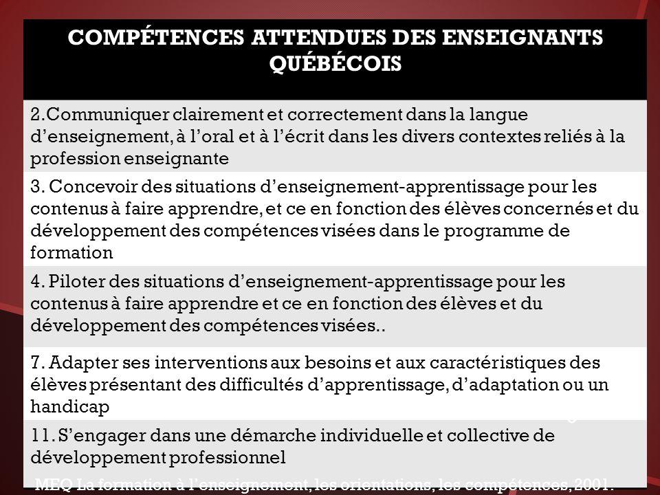 COMPÉTENCES ATTENDUES DES ENSEIGNANTS QUÉBÉCOIS