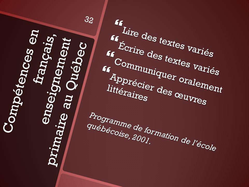 Compétences en français, enseignement primaire au Québec