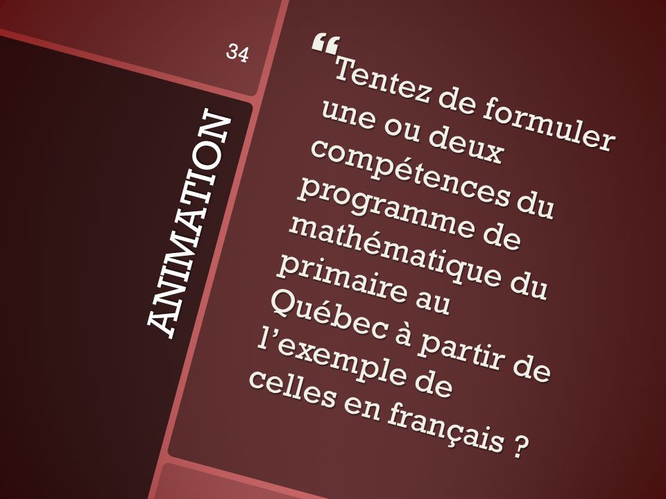 Tentez de formuler une ou deux compétences du programme de mathématique du primaire au Québec à partir de l'exemple de celles en français