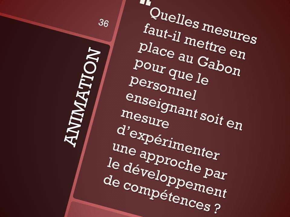Quelles mesures faut-il mettre en place au Gabon pour que le personnel enseignant soit en mesure d'expérimenter une approche par le développement de compétences