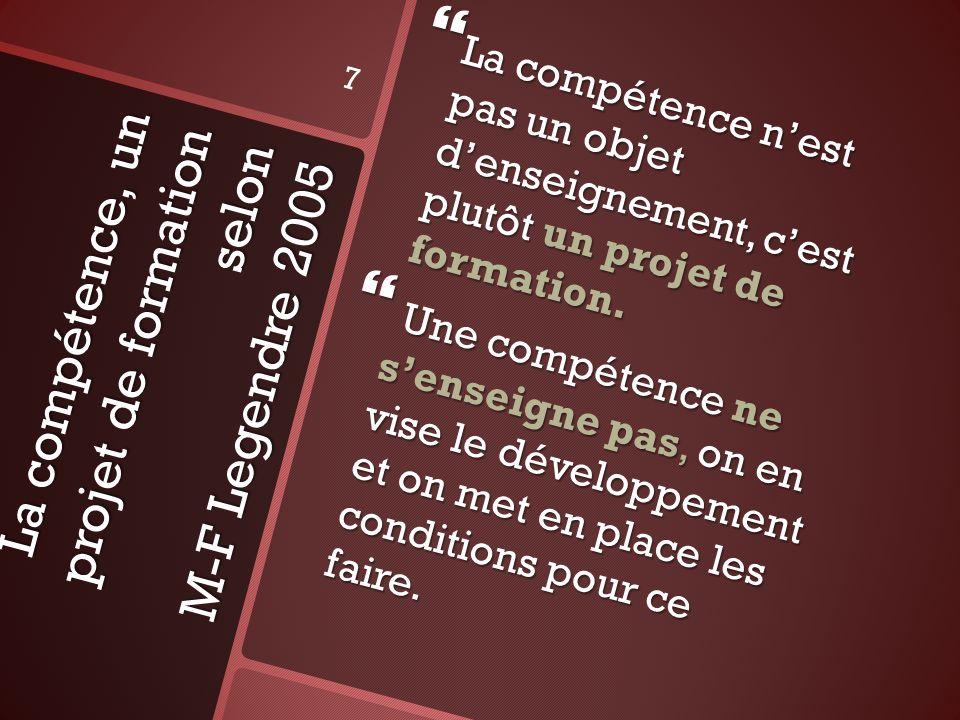 La compétence, un projet de formation selon M-F Legendre 2005