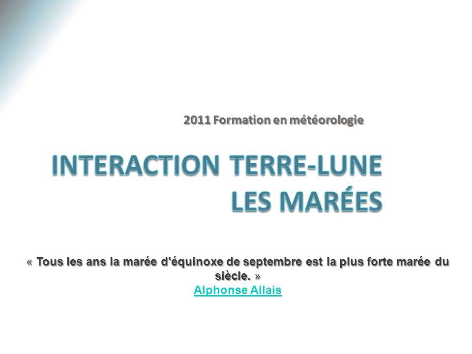 Interaction Terre-Lune Les Marées