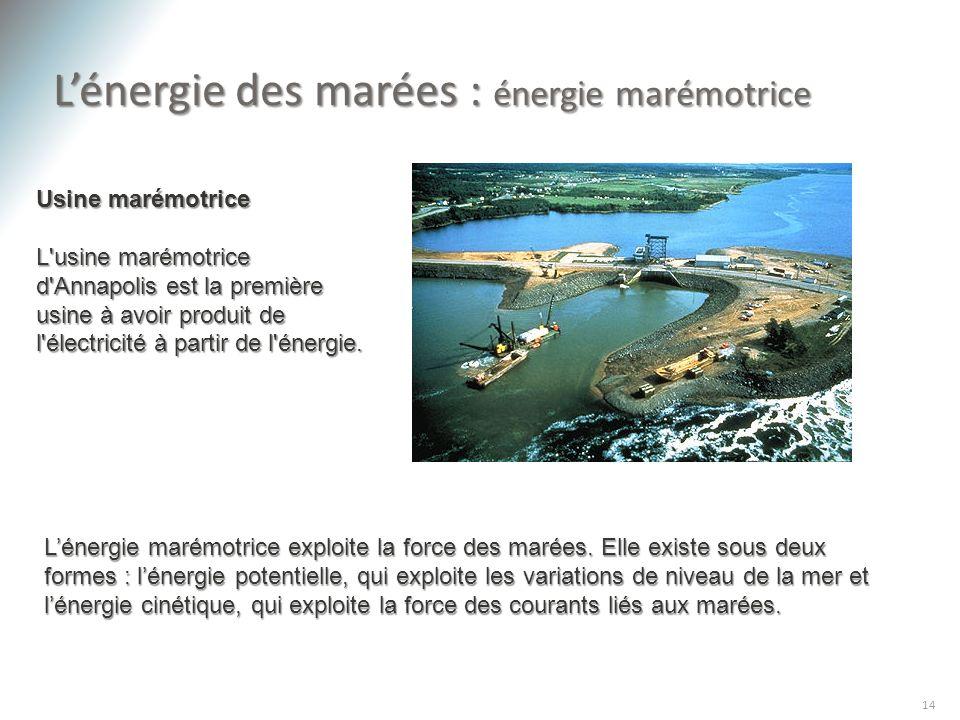 L'énergie des marées : énergie marémotrice