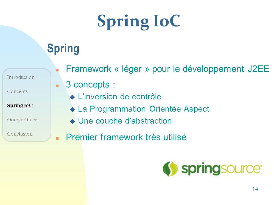 Spring IoC Spring Framework « léger » pour le développement J2EE