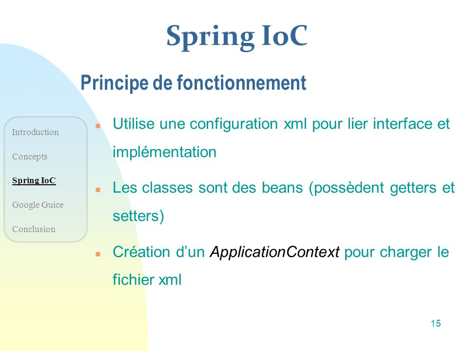 Spring IoC Principe de fonctionnement