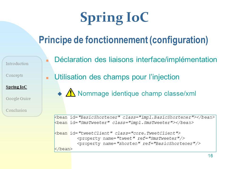 Spring IoC Principe de fonctionnement (configuration)