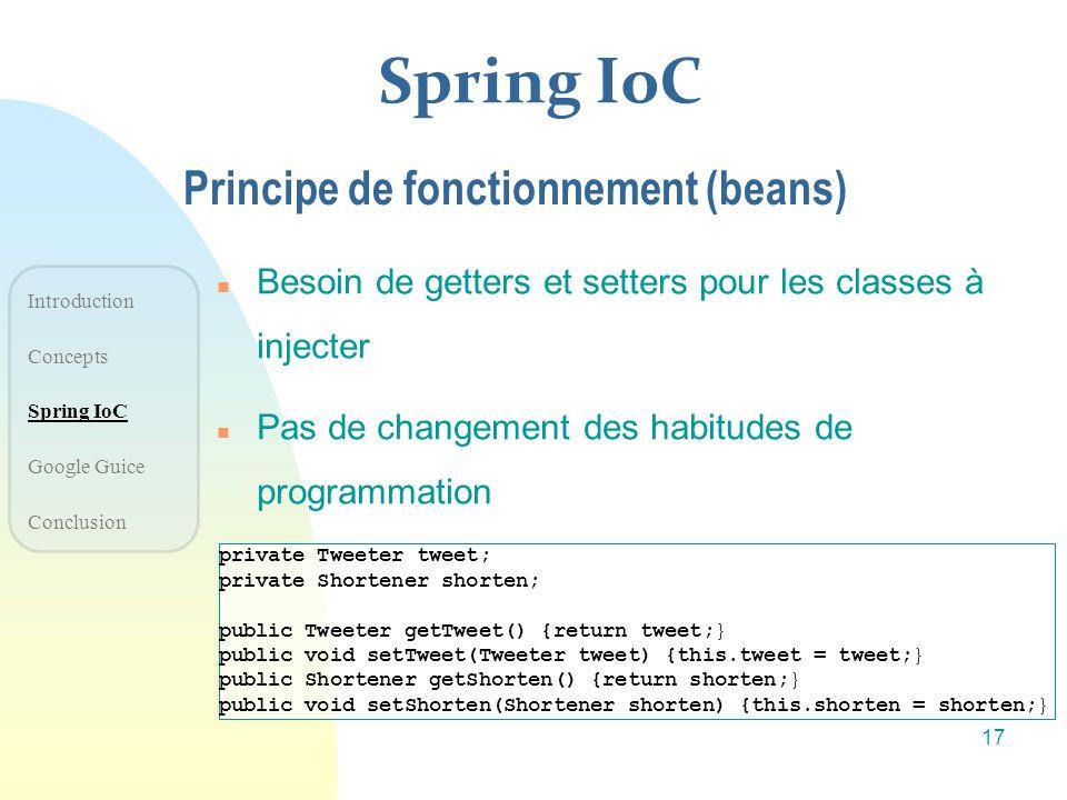 Spring IoC Principe de fonctionnement (beans)
