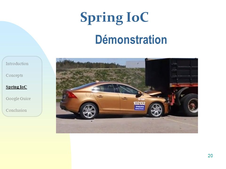 Spring IoC Démonstration Introduction Concepts Spring IoC Google Guice