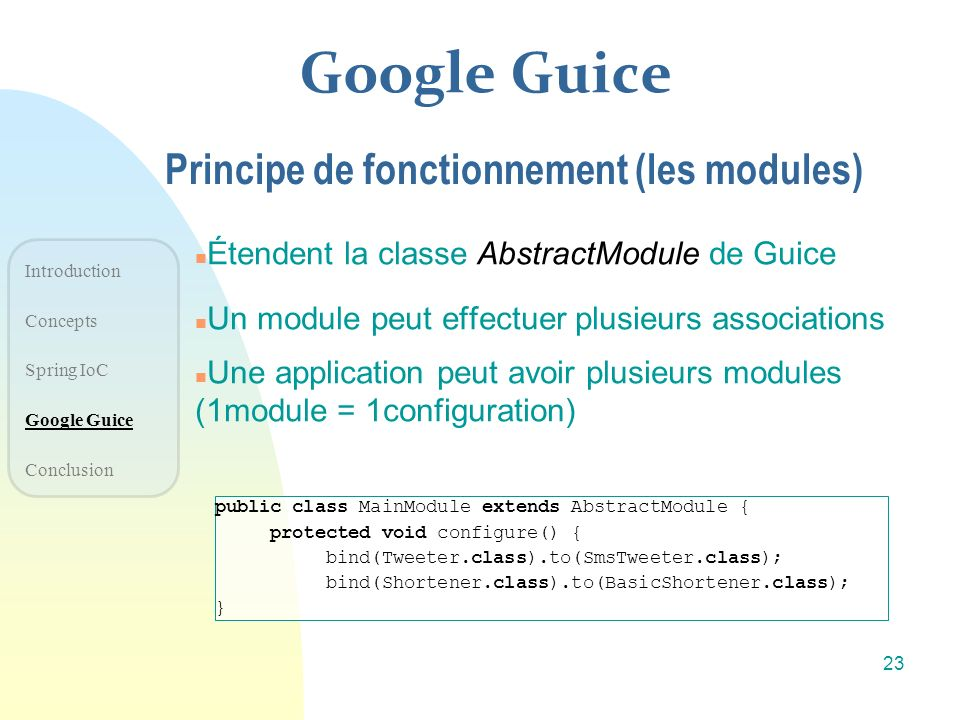 Google Guice Principe de fonctionnement (les modules)
